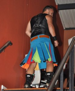 multi-coloured kilt