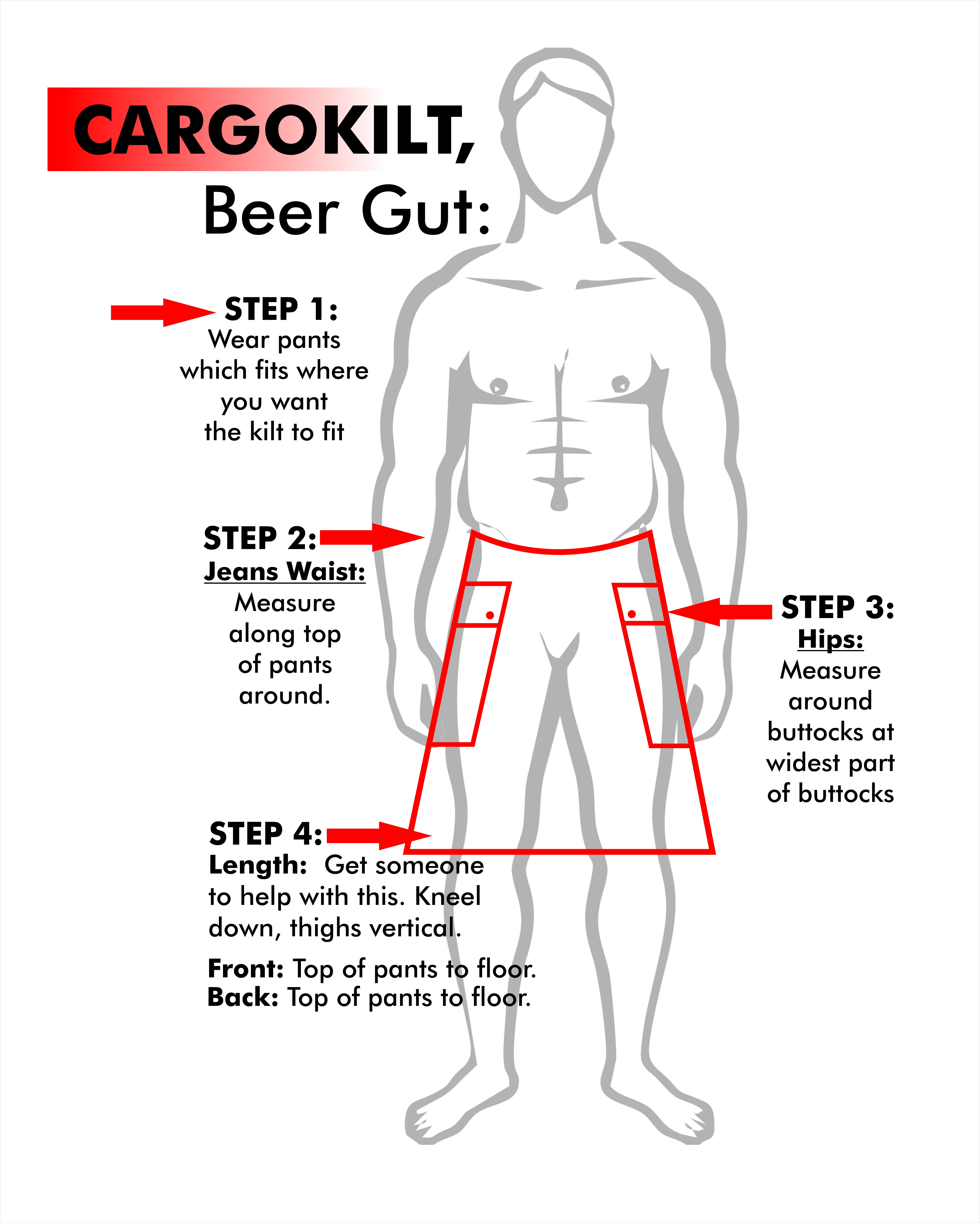 CARGOKILT BEER GUT MEASUREMENTS