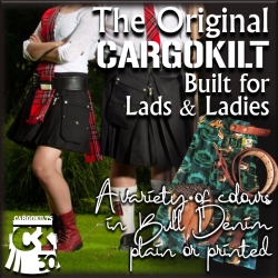 "The original Cargokilt is available in various colours of Bull Denim, plain or printed. Pocket and pleated, this made to measure garment is comfortable, unique in design, versatile and darn near indestructible. The ultimate in ""Freedom of Movement""."