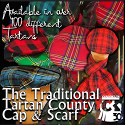 Product of South Africa, the County Caps and Scarves are made using the same finely woven tartan as used when making kilts.  The classic sturdy, yet jaunty design is tailored to be fully adjustable.  Also available in over 100 tartans.
